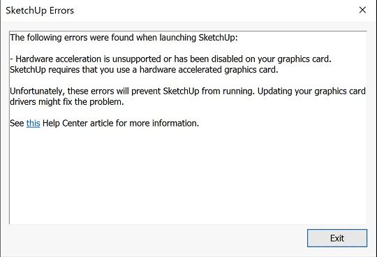The following errors were found when launching SketchUp