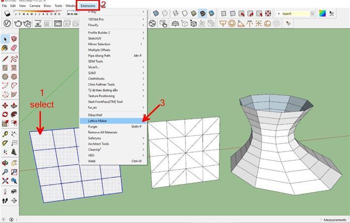 Hướng dẫn sử dụng plugin PLUGINLATTICE MAKER trong sketchup