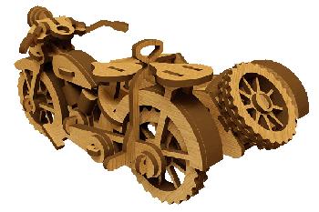 File CNC Mô hình xe máy Sidecar